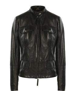 Roberto Cavalli | Кожаная Куртка С Накладными Карманами И Декоративной Шнуровкой