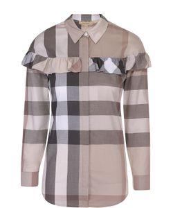 Burberry | Блуза Прямого Кроя В Клетку С Оборкой