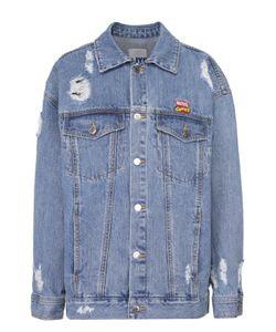 Steve J & Yoni P | Джинсовая Куртка С Потертостями И Контрастным Принтом На Спинке Steve J
