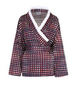Stella Jean | Хлопковая Блуза-Кимоно С Контрастной Отделкой И Поясом