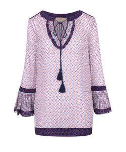 Tory Burch | Удлиненная Шелковая Блуза С Кулиской И Контрастным Принтом
