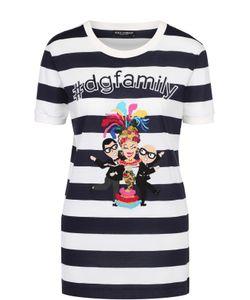 Dolce & Gabbana | Футболка Прямого Кроя В Контрастную Полоску С Яркой Нашивкой Dolce