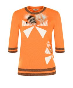 Fendi | Шерстяной Пуловер С Укороченным Рукавом И Отделкой Из Меха Лисы