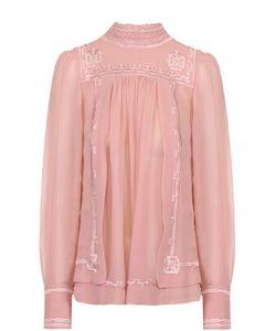 Isabel Marant | Шелковая Блуза С Воротником-Стойкой И Контрастной Отделкой