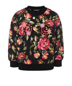 Dolce & Gabbana   Хлопковый Свитшот С Укороченным Рукавом И Принтом