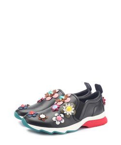 Fendi   Кожаные Кроссовки С Цветочной Аппликацией