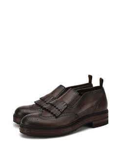 Santoni | Кожаные Ботинки Без Шнуровки С Бахромой
