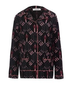 Valentino   Шелковая Блуза В Пижамном Стиле С Принтом