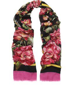 Dolce & Gabbana | Шарф Из Смеси Вискозы И Шелка С Цветочным Принтом Dolce