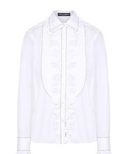 Dolce & Gabbana | Приталенная Блуза С Оборкой И Контрастной Прострочкой