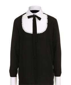 Valentino   Шелковая Блуза С Контрастной Отделкой И Воротником Аскот