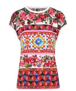 Dolce & Gabbana | Шелковый Топ Прямого Кроя С Ярким Принтом