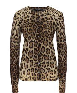 Dolce & Gabbana | Шерстяной Кардиган На Пуговицах С Леопардовым Принтом