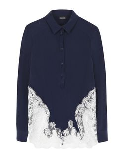 Ermanno Scervino | Шелковая Блуза С Контратсной Кружевной Отделкой