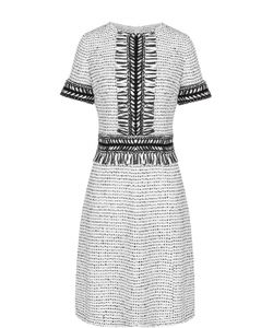 St. John | Приталенное Платье-Миди С Бахромой И Коротким Рукавом