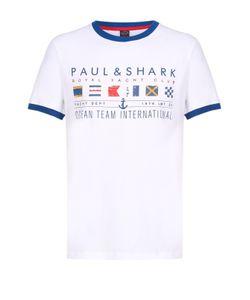 Paul & Shark | Хлопковая Футболка С Контрастным Принтом И Отделкой Paulshark