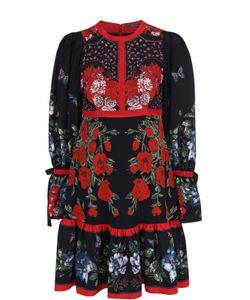 Alexander McQueen | Шелковое Мини-Платье Свободного Кроя С Цветочным Принтом