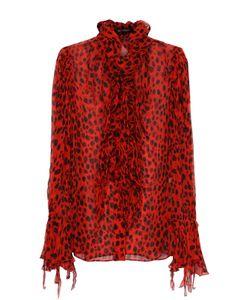 Roberto Cavalli | Шелковая Блуза С Леопардовым Принтом И Оборками