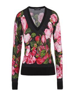 Dolce & Gabbana | Кашемировый Пуловер С V-Образным Вырезом И Цветочным Принтом