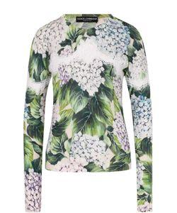 Dolce & Gabbana | Кашемировый Пуловер С Цветочным Принтом И Кружевом