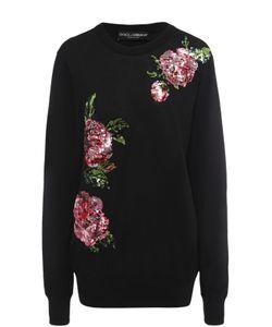 Dolce & Gabbana | Удлиненный Пуловер С Цветочной Вышивкой Пайетками