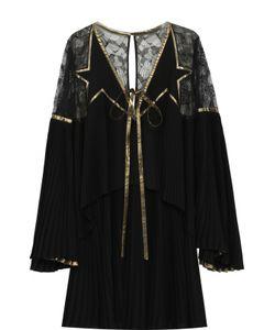 Elie Saab | Мини-Платье С Плиссированными И Кружевными Вставками