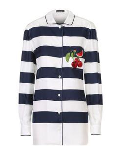 Dolce & Gabbana | Шелковая Блуза В Пижамном Стиле В Контрастную Полоску