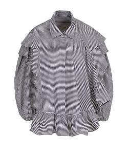 Preen By Thornton Bregazzi   Хлопковая Блуза В Полоску С Объемными Рукавами
