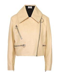 Acne Studios | Укороченная Кожаная Куртка С Косой Молнией И Отложным Воротником