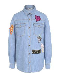 Kenzo   Джинсовая Блуза Прямого Кроя С Яркими Нашивками