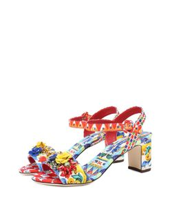 Dolce & Gabbana | Босоножки Из Текстиля С Аппликациями