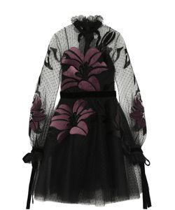Elie Saab | Приталенное Мини-Платье С Длинным Рукавом