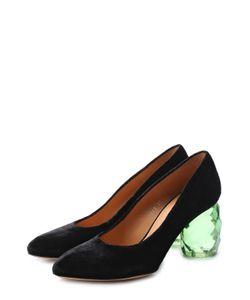 Dries Van Noten | Бархатные Туфли На Декорированном Каблуке
