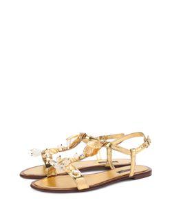 Dolce & Gabbana | Сандалии Bianca Из Металлизированной Кожи С Декором
