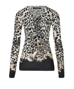 Roberto Cavalli | Облегающий Пуловер С Леопардовым Принтом И V-Обраным Вырезом