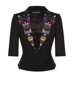 Dolce & Gabbana | Приталенный Жакет С Укороченным Рукавом И Декорированными Лацканами