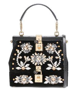 Dolce & Gabbana   Сумка Из Бархата С Вышивкой Кристаллами И Отделкой Из Кожи Змеи