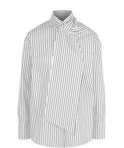 MSGM | Хлопковая Блуза В Полоску С Воротником Аскот