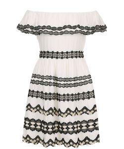 Alice + Olivia | Мини-Платье С Кружевной Отделкой И Открытыми Плечами