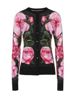 Dolce & Gabbana | Кашемировый Кардиган С Цветочным Принтом И Круглым Вырезом