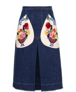 Dolce & Gabbana   Джинсовая Юбка-Миди С Декорированными Карманами