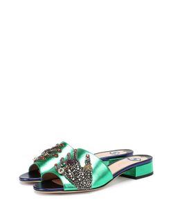 Gucci | Сабо Wangy Из Металлизированной Кожи С Декором