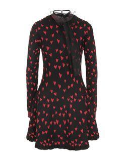 Red Valentino | Платье С Принтом В Виде Сердец И Воротником Аскот