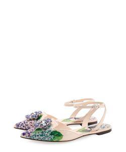 Dolce & Gabbana   Кожаные Балетки С Цветочным Принтом И Брошью