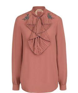 No. 21 | Однотонная Блуза С Плиссированной Отделкой
