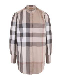 Burberry | Хлопковая Блуза В Клетку С Воротником-Стойкой