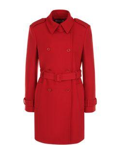 Red Valentino   Двубортное Пальто С Поясом И Погонами