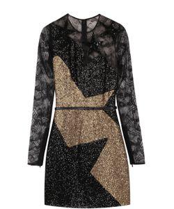 Elie Saab | Мини-Платье С Кружевной Отделкой И Пайетками