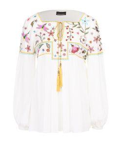Ermanno Scervino | Блуза Свободного Кроя С Контрастной Цветочной Вышивкой