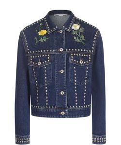 Stella Mccartney | Укороченная Джинсовая Куртка С Заклепками И Контрастной Вышивкой